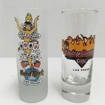"Lot of 2 LAS VEGAS 4"" SHOT GLASSES HARD ROCK HOTEL & HARLEY DAVIDSON CAF... - $14.01"