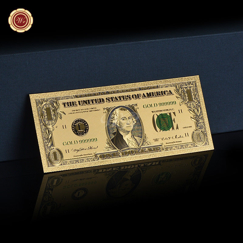 WR US 1$ Dollar Note Color Gold American Money Bill Collectible 18th BDday Gifts