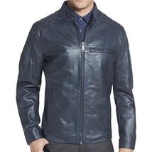 Mens Blue Handmade Cowhide Genuine Leather  Real Bespoke Leather Jacket - $118.79+