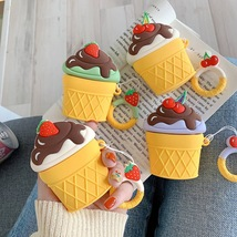 Cute Ice Cream Cartoon Apple AirPod Case Earphone Charging Cover Kawaii ... - $9.27 CAD