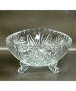 Beautiful Vintage CRYSTAL PINWHEEL Design 3 Sided CANDY NUT or CONDIMENT... - $19.39