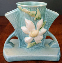 """ROSEVILLE """"Clematis Series Pottery # 192-5"""" 1944 Blue, Perfect, owned 25... - $233.75"""