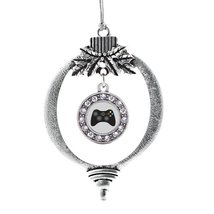 Inspired Silver Gamer Girl Circle Holiday Decoration Christmas Tree Ornament - €12,80 EUR