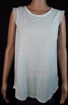 Michael Kors women's basic top sleeveless white linen viscose  size M - $21.88