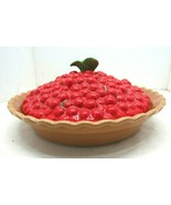 VINTAGE Treasure Craft Ceramic Cherry Pie Plate with Lid Pfaltzgraff - $29.65