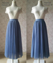 Dusty Blue Pleated Tulle Skirt Blue Tulle Pleated Maxi Skirt High Waisted  image 5