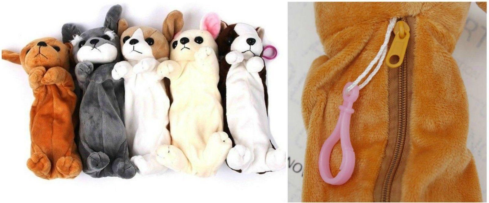 Pencil Pen Case Kids Plush Cute Dog Puppy School Supplies Bags Soft Pouch