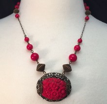 Victorian Necklace 12 Red Beads Floral Oval Chain Filigree Antique Art N... - $153.44
