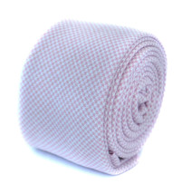 Frederick Thomas skinny pale pink dogstooth check cotton tie FT1955