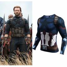 Avengers: Infinity War Captain America T shirt Long sport Fitness Costume - $29.99