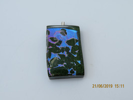 Handmade Glass Pendant on 925 Solid Silver Chain - Green/Blue and Purple - $10.00