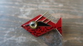 Vintage Hand Made Signed FISH BROOCH 4.8cm - $18.81