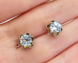 925 Sterling Silver - Vintage Blue Topaz Floral Design Stud Earrings - E... - $26.18