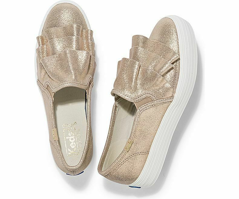 Keds WH59315 Women's Shoes Triple Ruffle Glitter Suede Gold, 7 Med