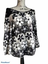 Hand Knit Sweater Black & White Floral Linen Cotton Pullover Talbots Siz... - $20.00
