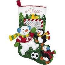 Bucilla Snowman Soccer Penguin Sport Christmas Holiday Felt Stocking Kit... - $52.95