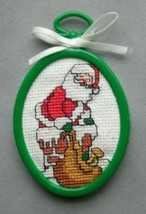 Finished completed cross stitch Santa chimney Christmas ornament - $9.99