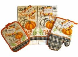 Pumpkin Patch Dish Towels Oven Mitt Pot Holder Set of 4 Buffalo Plaid Trim - $25.25