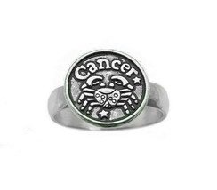Cancer Zodiac Sign Ring Real Sterling Silver 925 jewelry Crab Round Coin... - $33.81