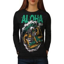 Aloha Surfboard Tee Funny Zeus Women Long Sleeve T-shirt - $14.99