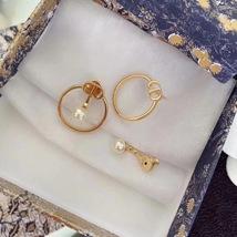 AUTH Christian Dior 2020 GOLD CD LOGO HOOP PEARL EARRINGS  image 3