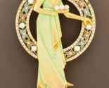 Art Nouveau 18k Gold Plique-a-Jour Enamel, Pearl, and Diamond Brooch Pendant