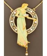 Art Nouveau 18k Gold Plique-a-Jour Enamel, Pearl, and Diamond Brooch Pendant - $10,722.85