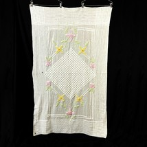 Chenille Baby Crib Blanket White Floral Cottage Core Cutter Craft Vintag... - $24.74