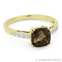 1.40ct Cushion Cut Smoky Topaz Round Diamond Right Hand Ring in 14k Yell... - £325.36 GBP