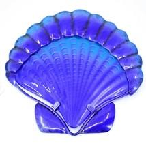 "7"" Blue Seashell Design Metal & Glass Ocean Marine Beach Coastal Wall Decor"