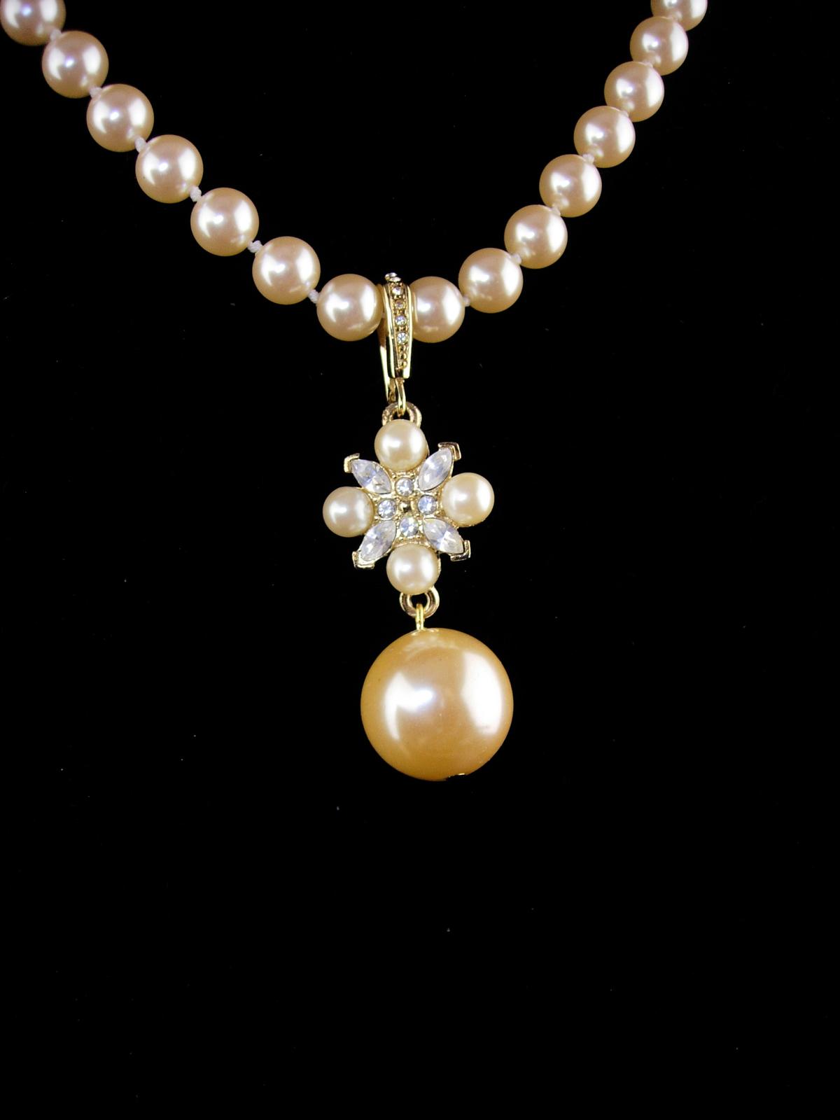 Wedding necklace - Pearl choker - rhinestone enhancer - edwardian style - 2pc se