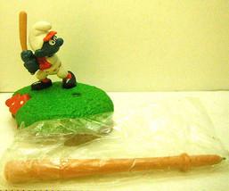 1982 Schleich Smurf Baseball Player PVC Pen Set Rare Unused Boxed - $27.81