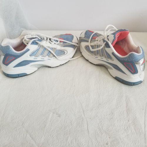 1a861691c ADIDAS Women s White  blue Athletic Running Shoes Torsion Adiprene Size 8