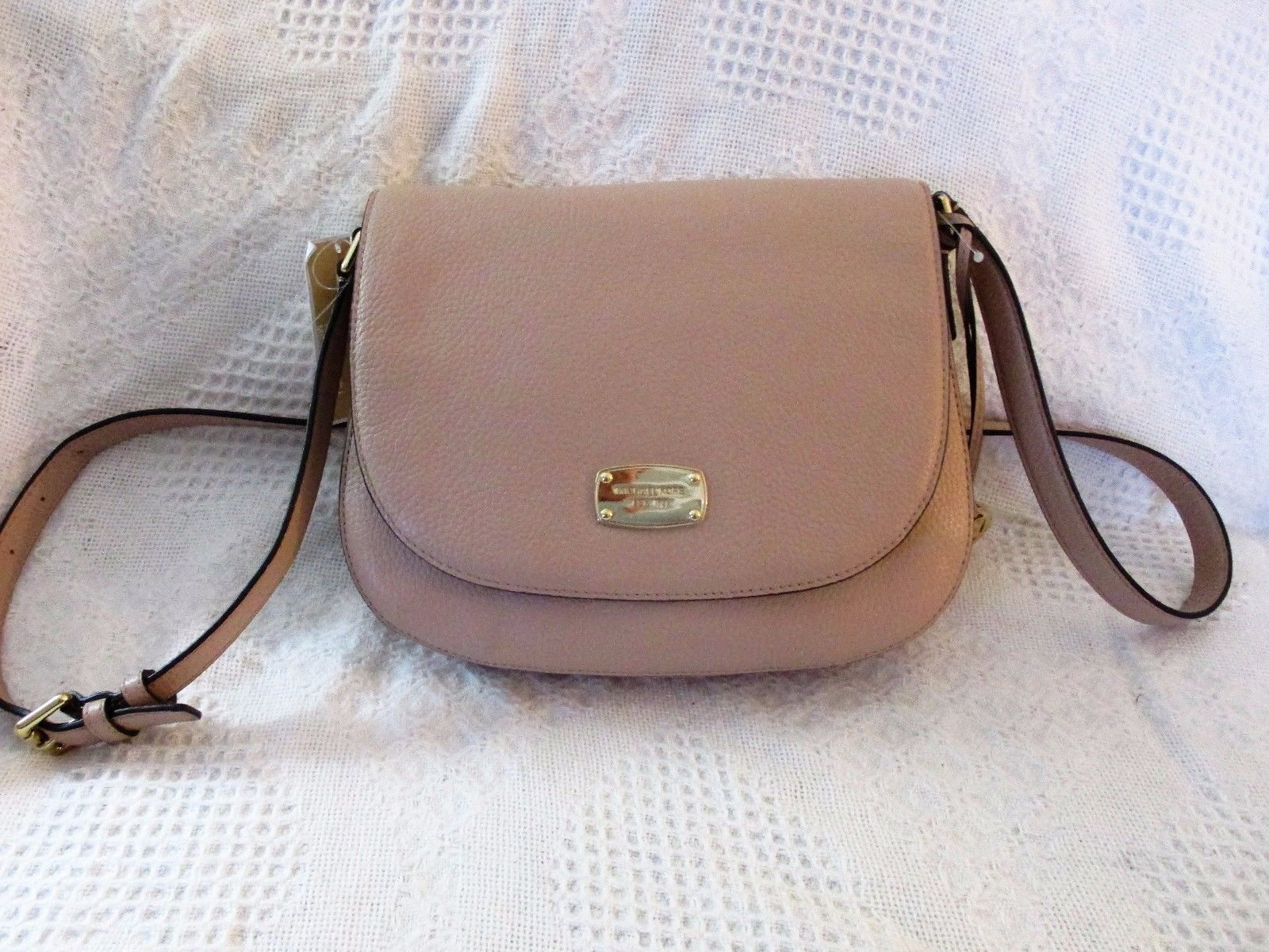 AUTHENTIC MICHAEL KORS Bedford Leather Saddle Shoulder Bag Blush NWT