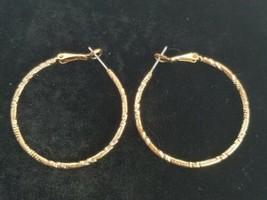 Vintage Gold Toned Textured Hoop Pierced Earrings - $14.84