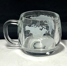 "Nestle  3"" coffee tea cup Etched glass world glob new logo - $4.95"