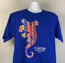 Cancun Playa del Carmen Mexico Neon Lizard T Shirt Mens Large  - $21.73