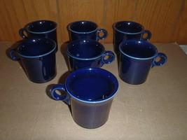 7 Fiestaware Fiesta Ring Handle Cobalt Blue Coffee Mugs Cups Homer Laughlin - $56.09