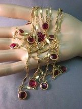 "Bezel Set Red Crystal Necklace Gold Plated 54"" Long Dangle Vintage Wear Double - $49.49"