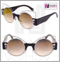 Marc Jacobs Marc 1 Black Silver Round Gold Mirrored Crystal Stud Sunglasses - $191.57