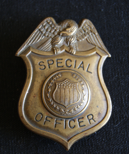 Antique,1920's Bureau of Prohibition unit, Police Badge Federal Special Officer.