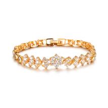 Glamorousky Elegant Fashion Plated Gold Flower Bracelet with Cubic Zirconia - $27.98