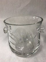Vintage Etched Crystal Ice Bucket Wine Champagne Chiller Scroll Handle - $59.39