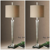 TWO NEW PLATED BRUSHED NICKEL FINISH TABLE LAMP LIGHT CRYSTAL DETAIL BLA... - $523.60