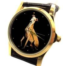 VINTAGE GREYHOUND PORTRAIT ART COLLECTIBLE 30 mm UNISEX DOG ART WRIST WATCH - $69.99