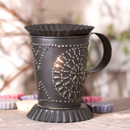 Primary image for Country new smokey black electric punched tin MUG wax warmer