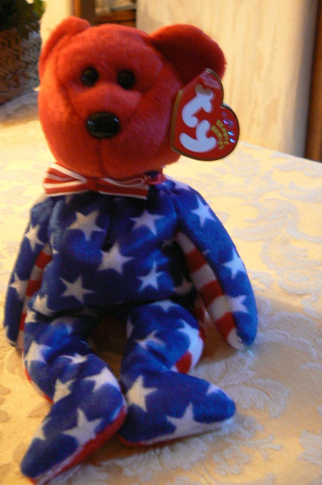 "Vintage Ty Beanie Babies Liberty "" The Bear "" Hang Tag 2001/Tush Tag 2002 Errors"