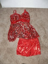 Sparkling RED Sequin Leotard Booty Shorts Dance Costume SC CHILD jw - $14.99