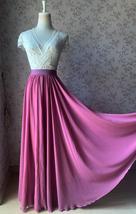 2021 Floor Length Chiffon Skirt High Waist Wedding Skirt Outfit Plum Plus Size  image 1