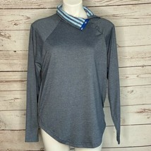 Jason Wu EVA Air Blue Heathered Jersey Lounge Top M Rollover Snap Neck S... - $18.69